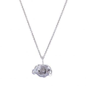 Big Stone kaelakee, valge roodium, Herkimeri teemant