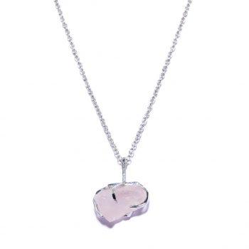 Big Stone kaelakee, valge roodium, roosa kvarts