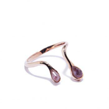 Double Raindrop sõrmus, roosa kuld, ametüst