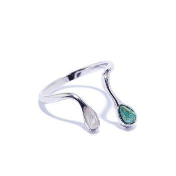 Double Raindrop sõrmus, valge roodium, malahiit, mäekristall
