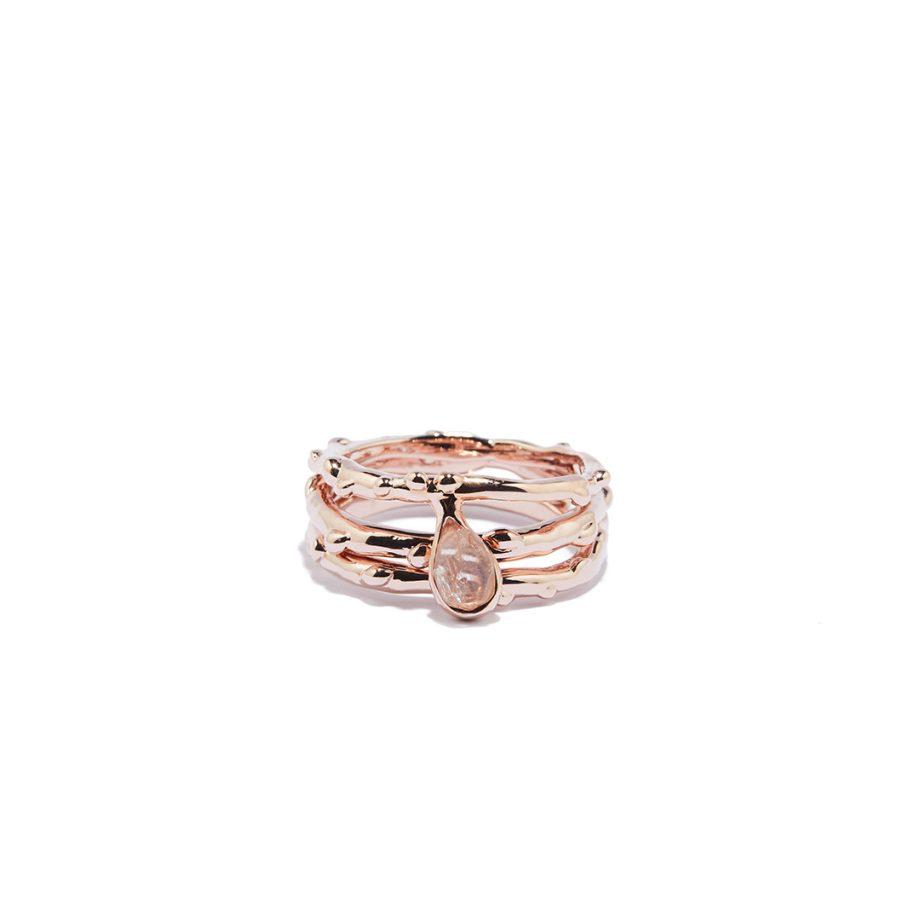Triple Raindrop sõrmus, roosa kuld, Herkimeri teemant