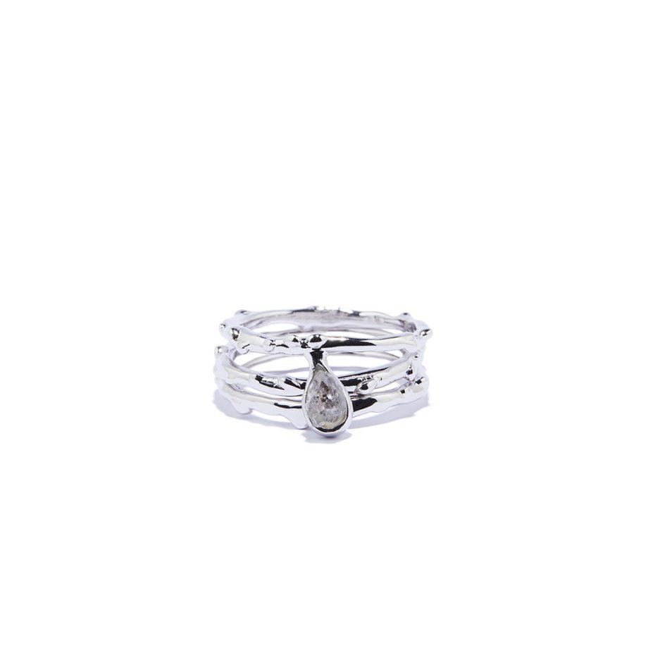 Triple Raindrop sõrmus, valge roodium, Herkimeri teemant