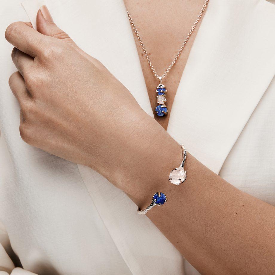 Kaelakee, valge roodium, sinine safiir, roosa kvarts, käevõru, sõrmus