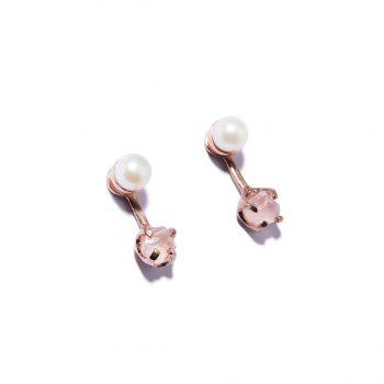 Kõrvarõngad, roosa kuld, magevee pärlid, roosa kvarts