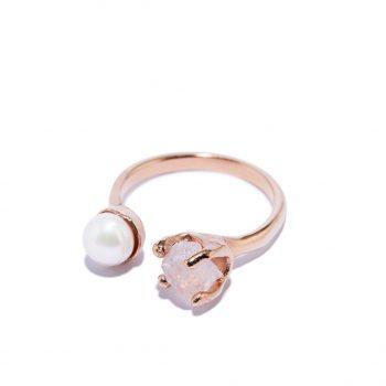 Sõrmus, roosa kuld, magevee pärl, roosa kvarts