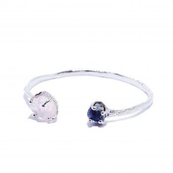 Cuff, White Rhodium, Rose Quartz, Blue Sapphire