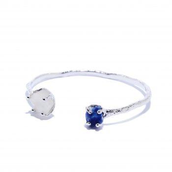 Käevõru, valge roodium, hõbe, valge topaas, sinine safiir