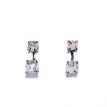 Earrings, Black Rhodium, Rose Quartz, Rock Crystal