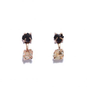 Kõrvarõngad roosa kullaga, must oonüks, Herkmeri teemant