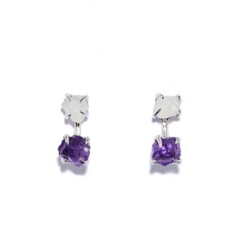 Earrings, White Rhodium, Silver, Rock Crystal, Amethyst