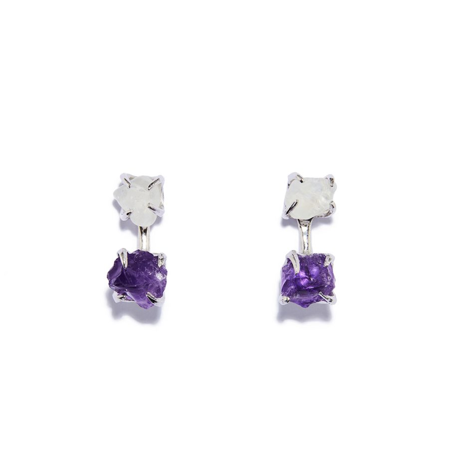 Earrings, White Rhodium, Silver, Rock Crystal, Amethyst