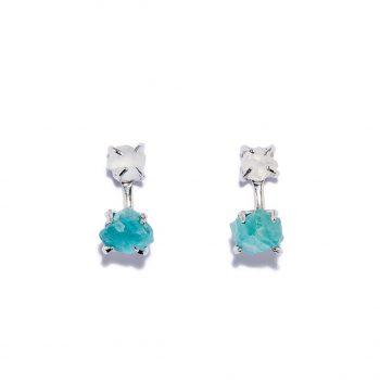 Double Stone, kõrvarõngad, valge roodium, mäekristall, sinine apatiit