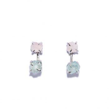 Double Stone kõrvarõngad, valge roodium, hõbe, roosa kvarts, akvamariin