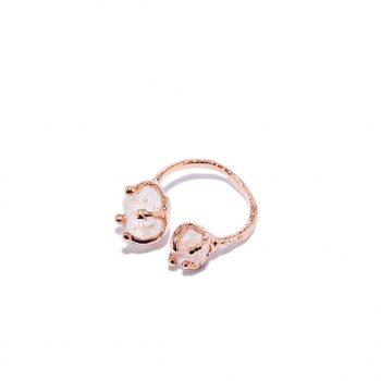 Sõrmus, universaalne suurus, roosa kuld, mäekristall