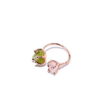Sõrmus, universaalne suurus, roosa kuld, roosa kvarts, roheline granaat