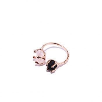 Double Stone, sõrmus, roosa kuld, roosa kvarts, must oonüks