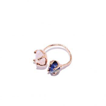 Sõrmus, roosa kuld, roosa kvarts, sinine safiir, universaalne suurus