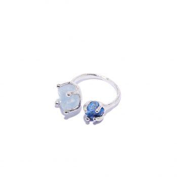 Sõrmus, universaalse suurusega, akvamariin, sinine safiir