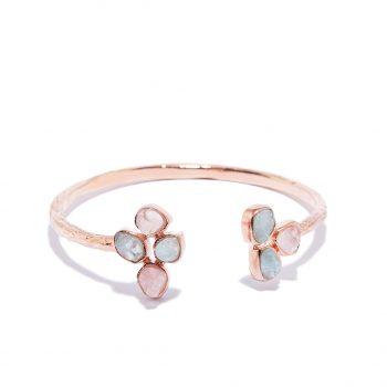 Flower, käevõru, roosa kuld, akvamariin, roosa kvarts