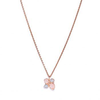 Flower, roosa kuld, kaelakee, roosa kvarts, akvamariin