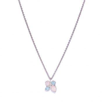 Flower, valge roodium, roosa kvarts, akvamariin