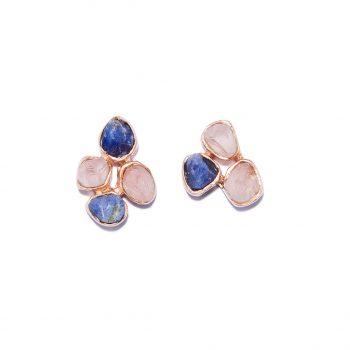 Kõrvarõngad roosa kullaga, kõrvarõngad sinise safiiriga, kõrvarõngad roosa kvartsiga