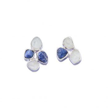 Flower earrings, white rhodium, blue saphhire, white topaz