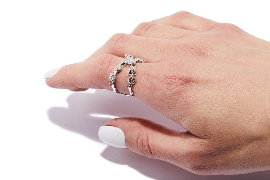 Hõbe, valge roodium, reguleeritav suurus, hõbedast sõrmus, valge roodiumiga sõrmus