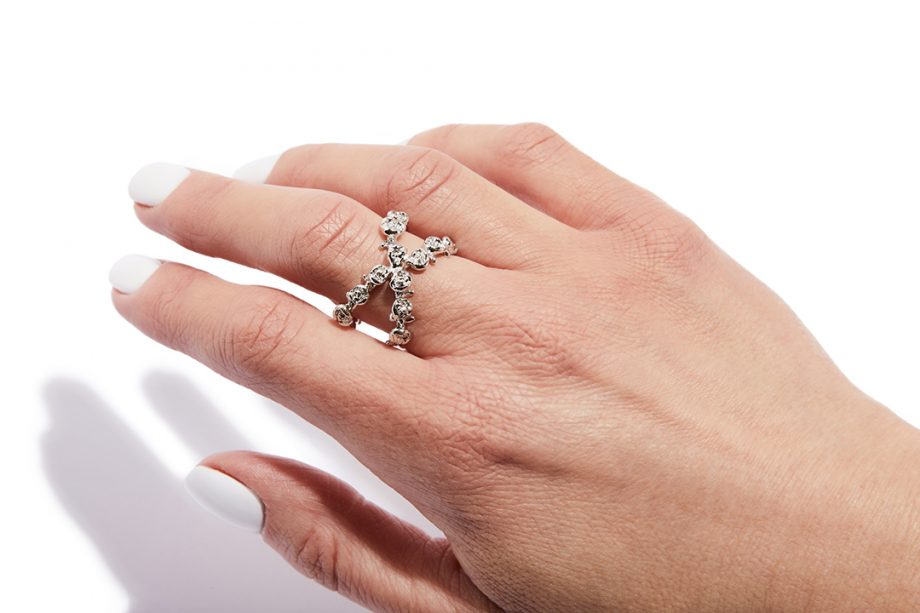Hõbe, Valge roodium, reguleeritav suurus, sõrmus roosa kullaga