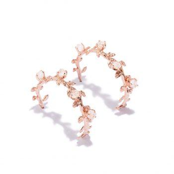 Kõrvarõngad, roosa kuld, mäekristall, käsitöö ehe, rõngad
