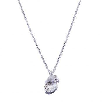 Herkimeri teemant, hõbedast kaelakee, valge roodium, käsitöö ehe