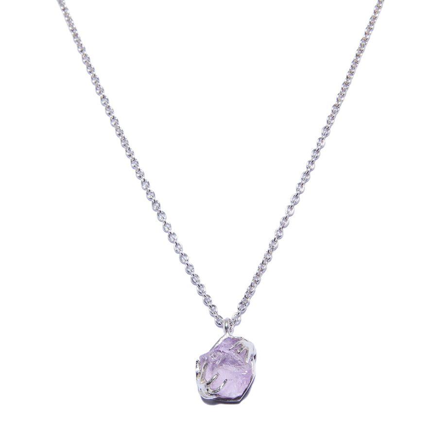 White Rhodium, Silver Necklace, Amethyst
