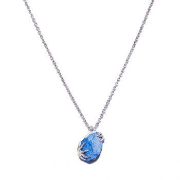 sinine safiir, hõbe kaelakee, kaelakee, valge roodium, käsitöö ehe