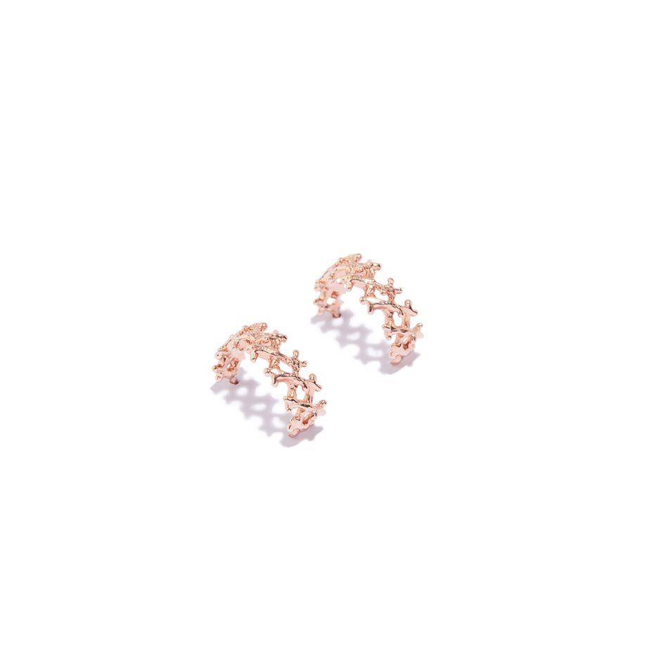 Igapäevased kõrvarõngad, Rõngad, Väiksed rõnga kujulised kõrvarõngad, roosa kuld, käsitöö ehted,